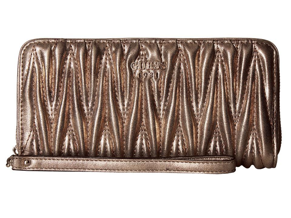 GUESS - Keegan SLG Large Zip Around (Bronze) Handbags