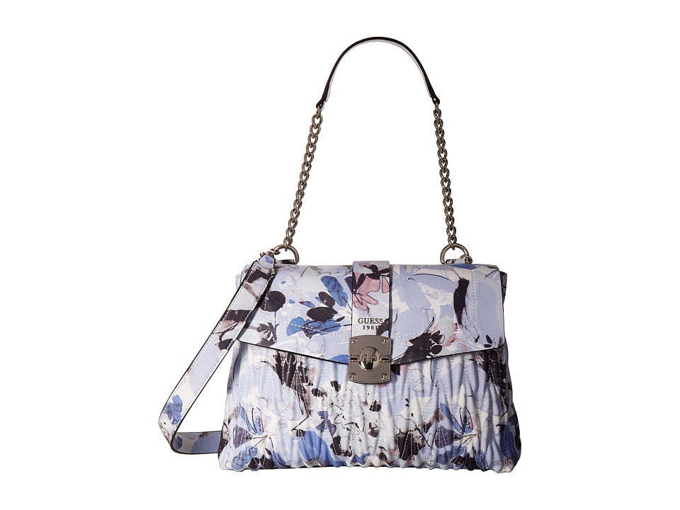 GUESS - Keegan Shoulder Bag (Blue Floral) Handbags