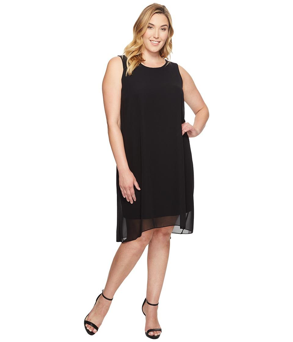 Vince Camuto Specialty Size Plus Size Sleeveless Chiffon Overlay Dress (Rich Black) Women