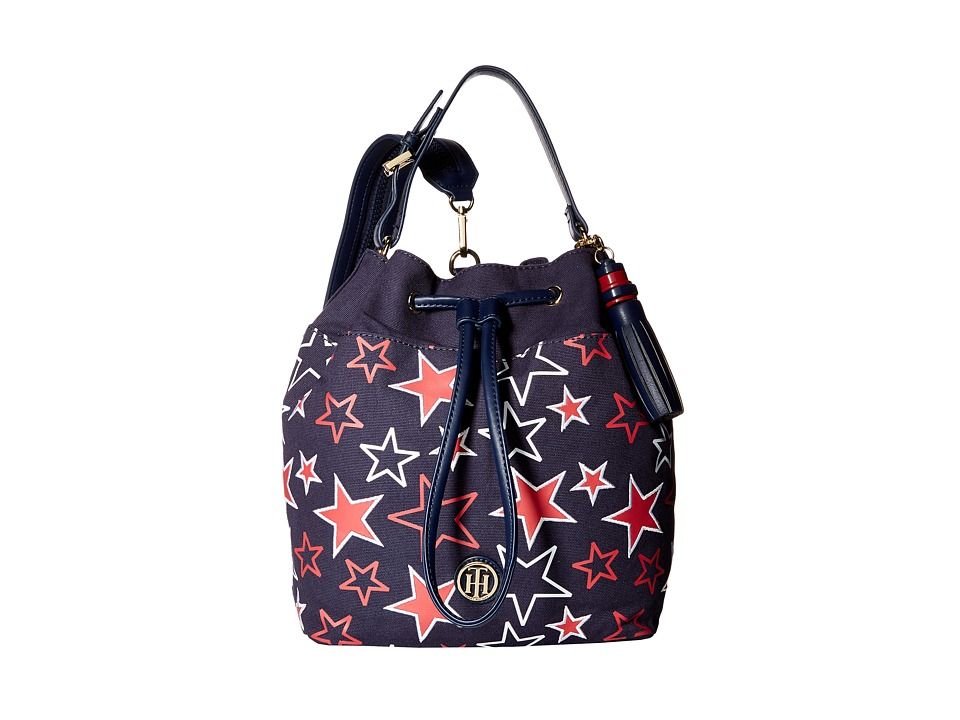 Tommy Hilfiger - Summer of Love Pebble Sling Backpack (Navy/Red) Backpack Bags