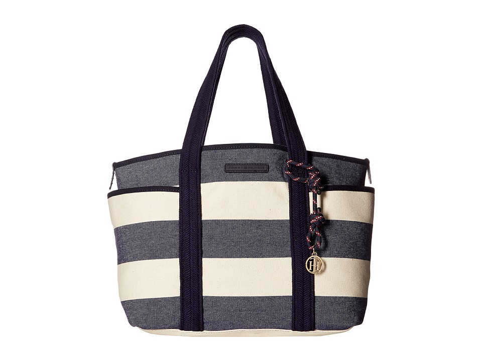 Tommy Hilfiger - Dariana Rugby Stripe Tote (Navy/Natural) Tote Handbags