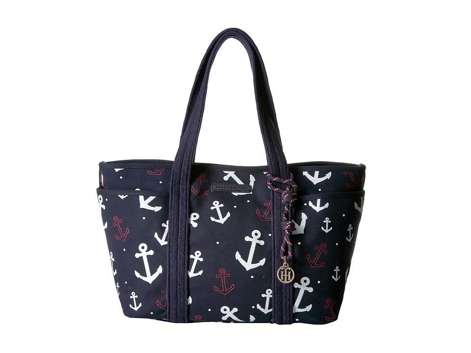 Tommy Hilfiger - Dariana Falling Anchor Tote (Navy) Tote Handbags