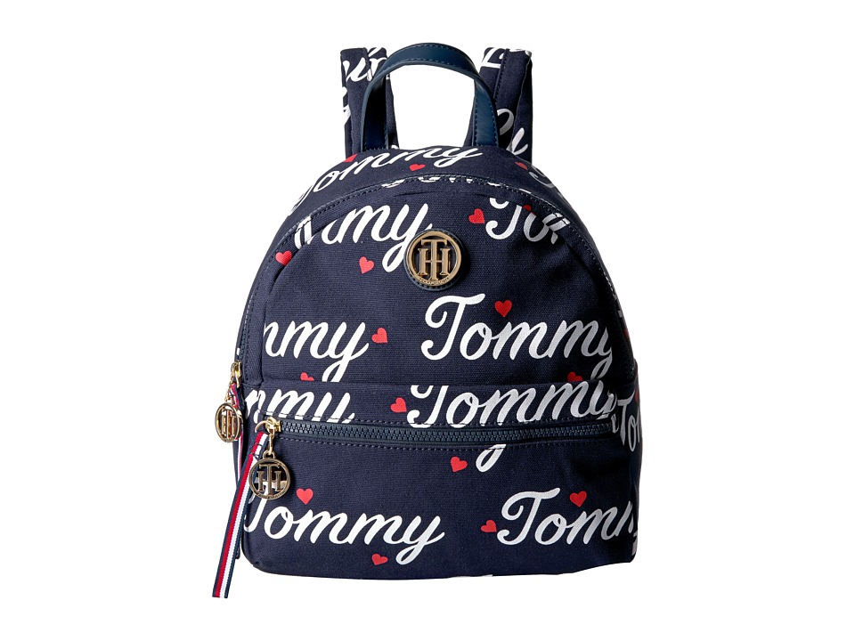 Tommy Hilfiger - Tommy Signature Backpack (Navy/Fiery Red) Wristlet Handbags