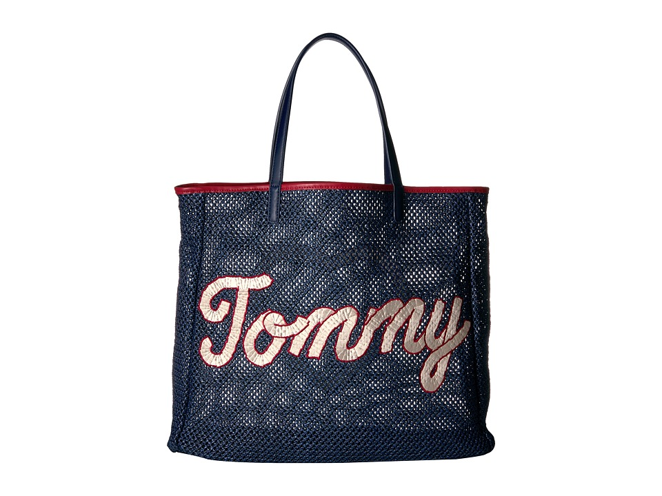 Tommy Hilfiger - Tommy Straw Tote (Navy) Tote Handbags