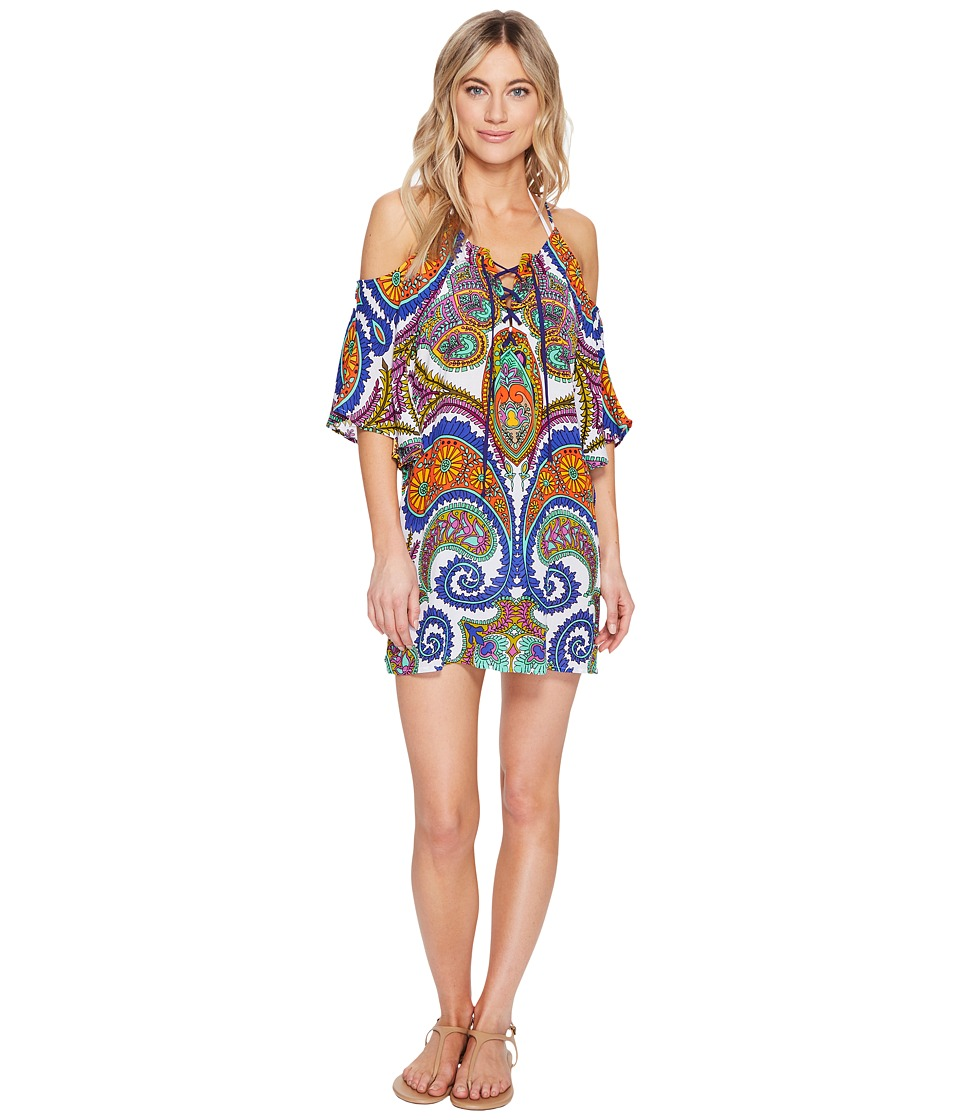 Trina Turk - Pacific Paisley Off Shoulder Tunic Cover-Up (Multi) Women's Swimwear