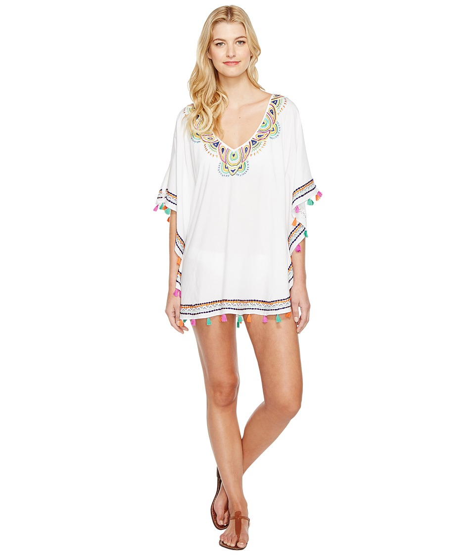 Trina Turk - Paisley Embroidery Caftan Cover-Up (White) Women's Swimwear