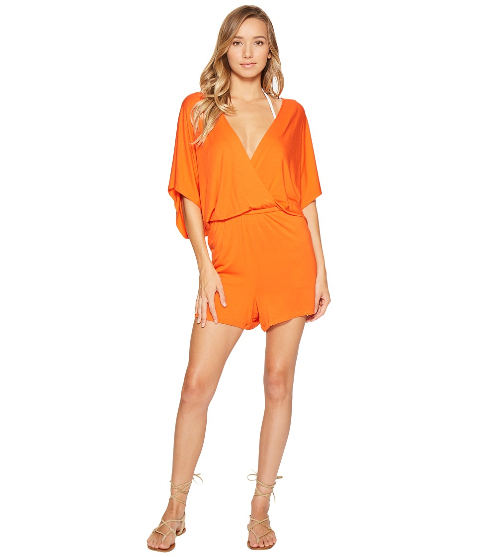 Trina Turk - Gypsy Jersey Kimono Sleeve Romper Cover-Up (Flame) Women's Swimsuits One Piece