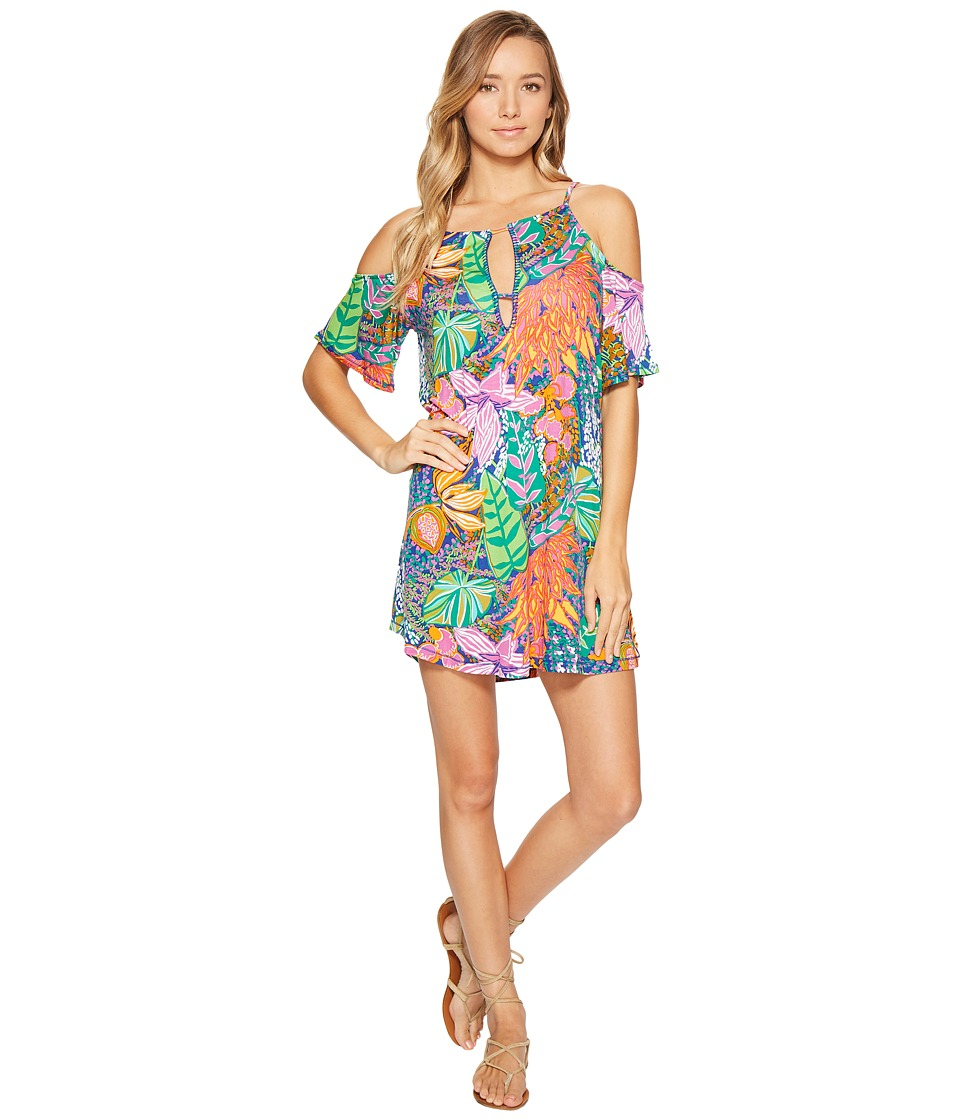Trina Turk - Tropic Escape Off Shoulder Tunic Cover-Up (Multi) Women's Swimwear