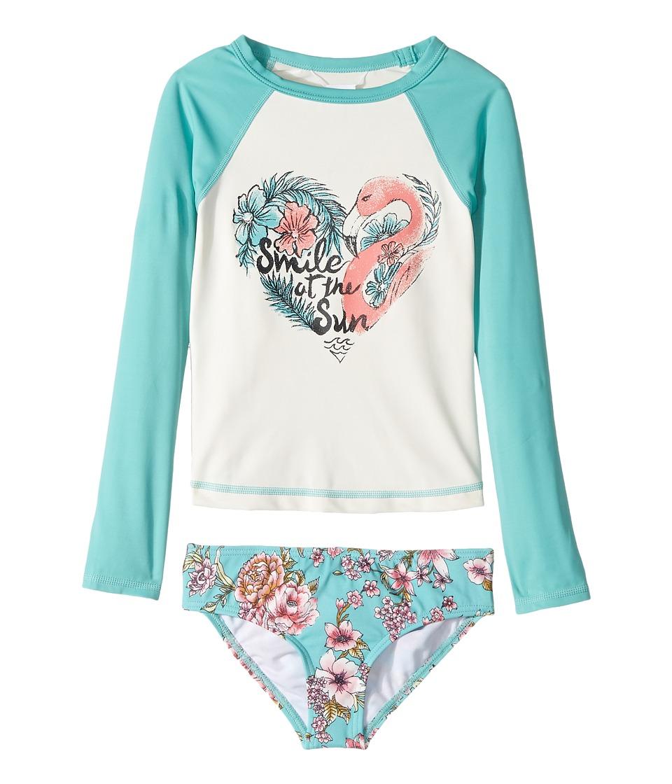 Billabong Kids - Blooming Beauty Rashguard Set (Little Kids/Big Kids) (Tiki Turquoise) Girl's Swimwear Sets