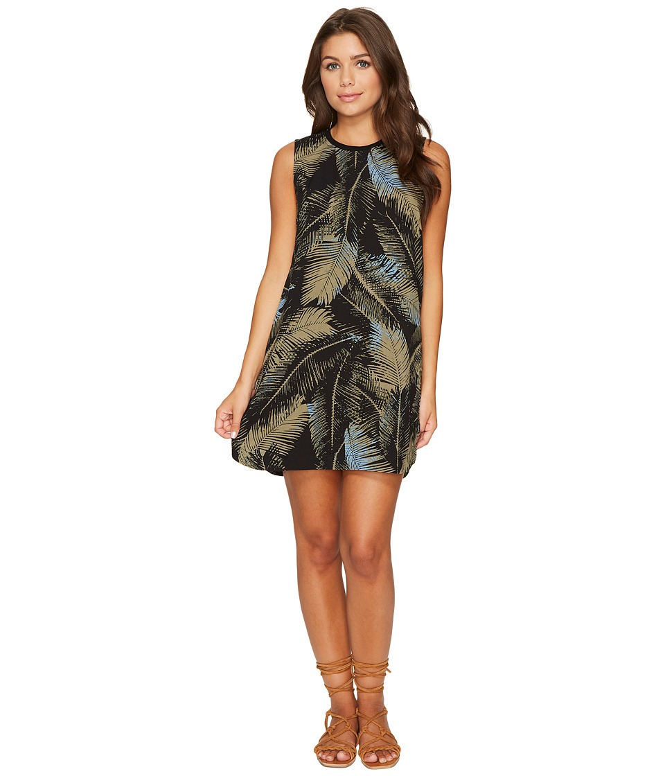RVCA - Roadside Printed Palm Shift Dress (Black) Women's Clothing