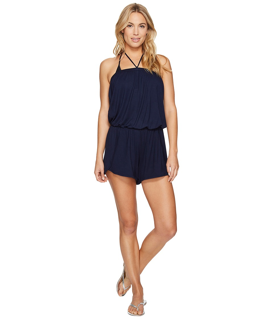 Lucky Brand - Catalina Sunset Dolphin Hem Halter Romper Cover-Up (Indigo) Women's Swimsuits One Piece