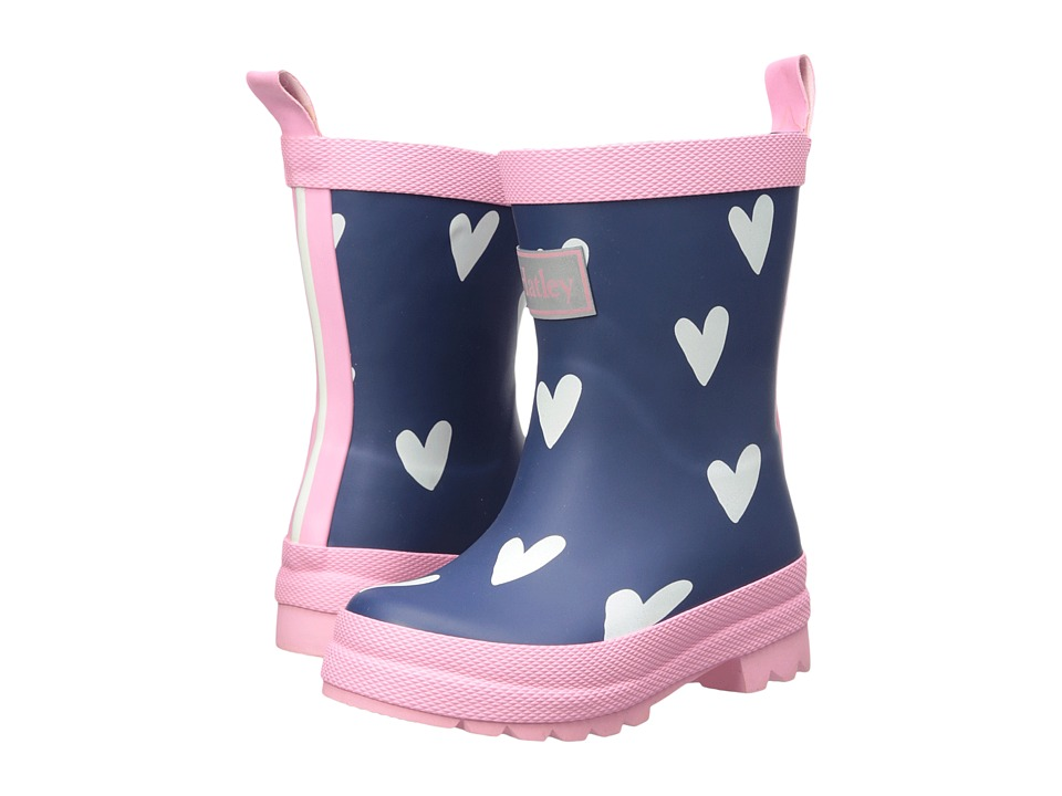 Hatley Kids Scattered Red Hearts on Navy Rain Boots (Toddler/Little Kid) (Navy) Girls Shoes