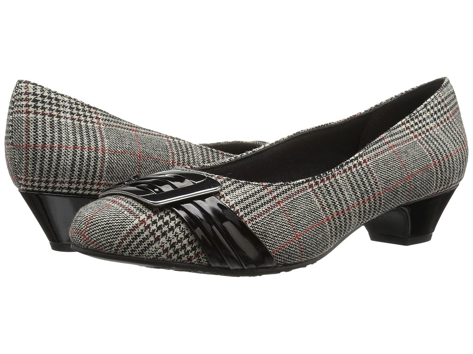 Soft Style Pleats Be With You (Black Plaid/Black Patent) Women