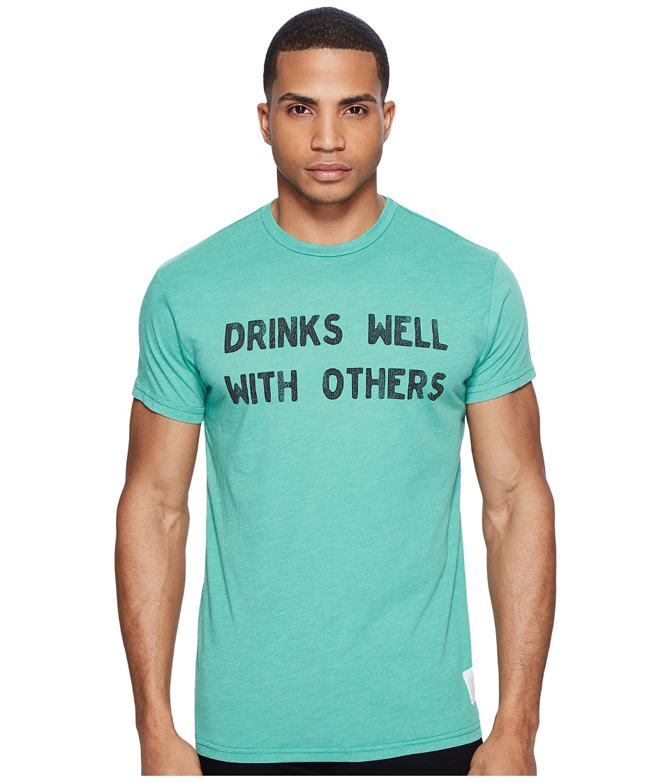 The Original Retro Brand - Short Sleeve Heathered Drinks Well with Others Tee (Heather Sprite) Men's T Shirt