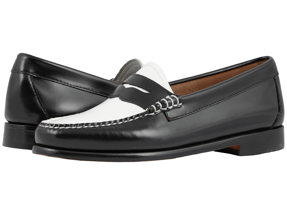 G.H. Bass & Co. Whitney Weejuns (Black/White Box Leather) Women