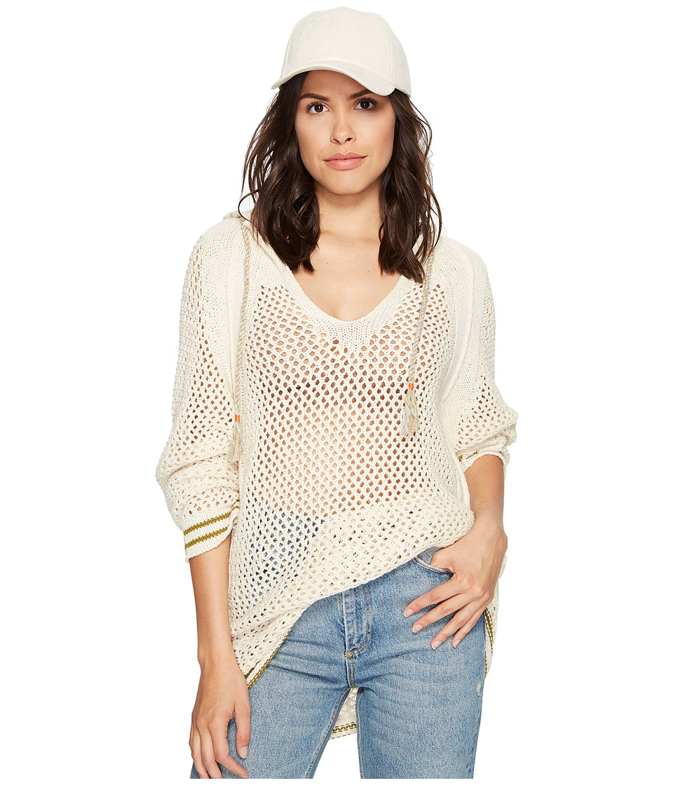 Free People - Shadow Stripe Mesh Hoodie (Ivory) Women's Sweatshirt