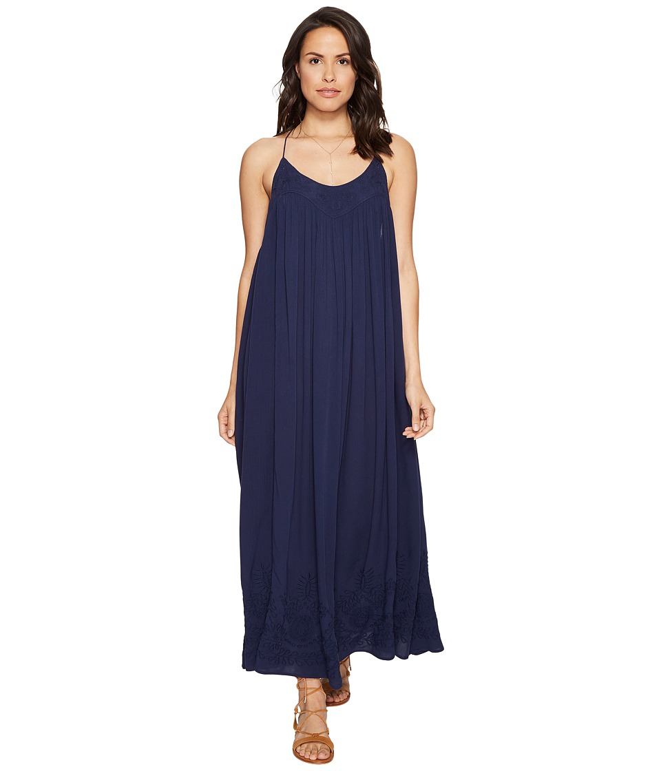 Free People - Embroidered Elaine Maxi Slip (Navy) Women's Dress