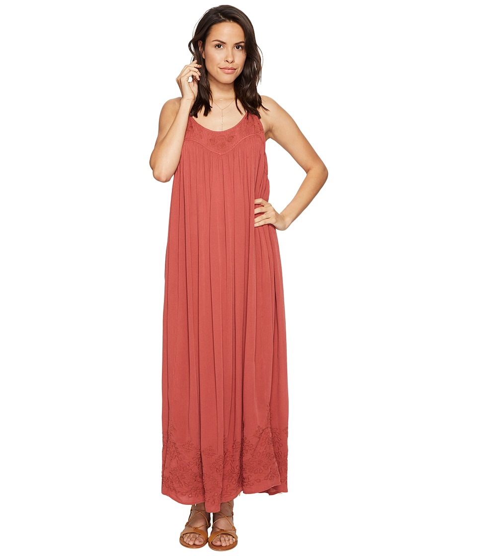 Free People - Embroidered Elaine Maxi Slip (Terracotta) Women's Dress