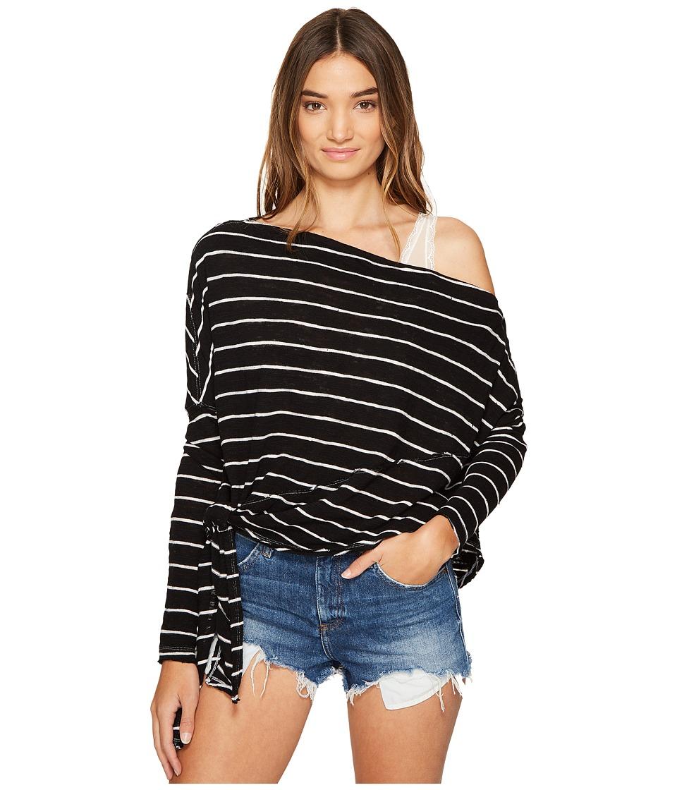 Free People - Striped Love Lane Tee (Black) Women's Clothing