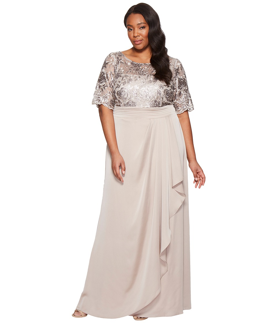 Adrianna Papell Plus Size Sequin Embroiderd Draped Gown with Elbow Sleeve Light Mink Dress