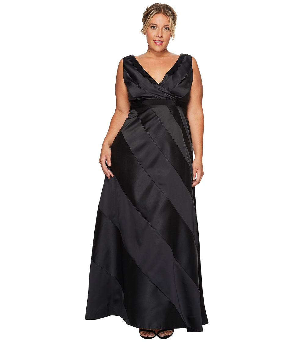 Adrianna Papell - Plus Size V-Neck Ball Gown with Diagonal Strip Detail (Black) Women's Dress