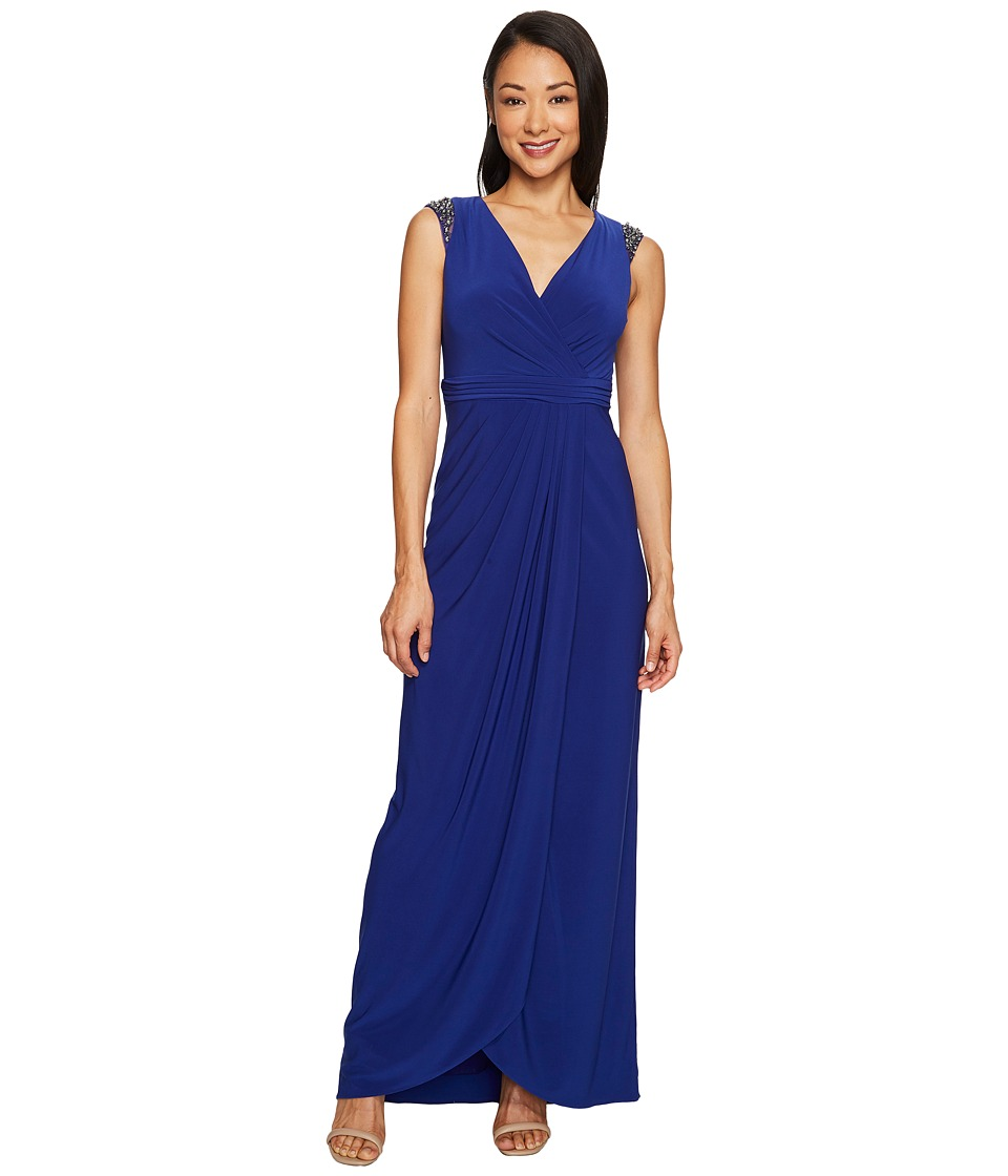 Adrianna Papell Petite Wrap Front Jersey Gown with Bead Detail at the Shoulder (Neptune) Women
