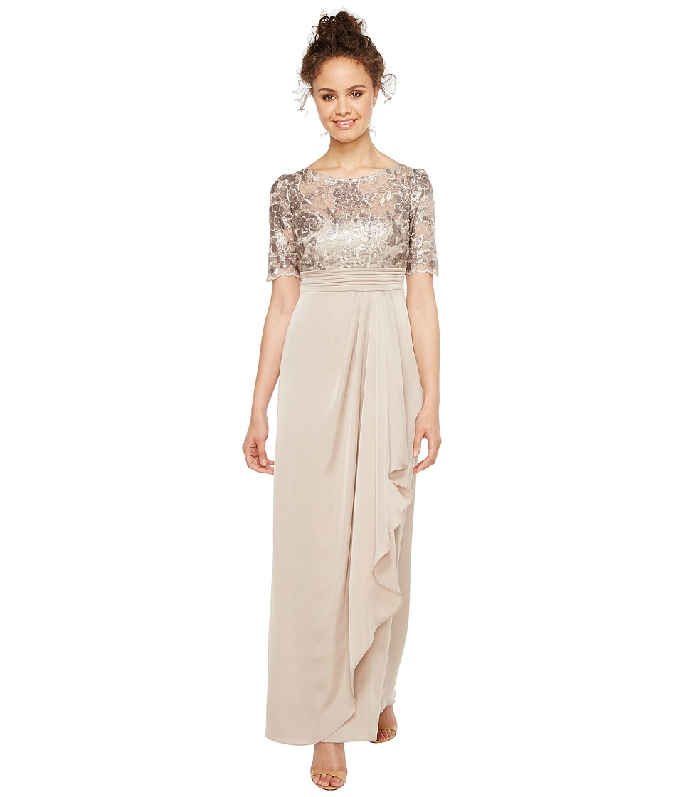 Adrianna Papell - Petite Sequin Embroiderd Draped Gown with Elbow Sleeve (Light Mink) Women's Dress