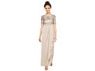 Adrianna Papell - Petite Sequin Embroiderd Draped Gown with Elbow Sleeve