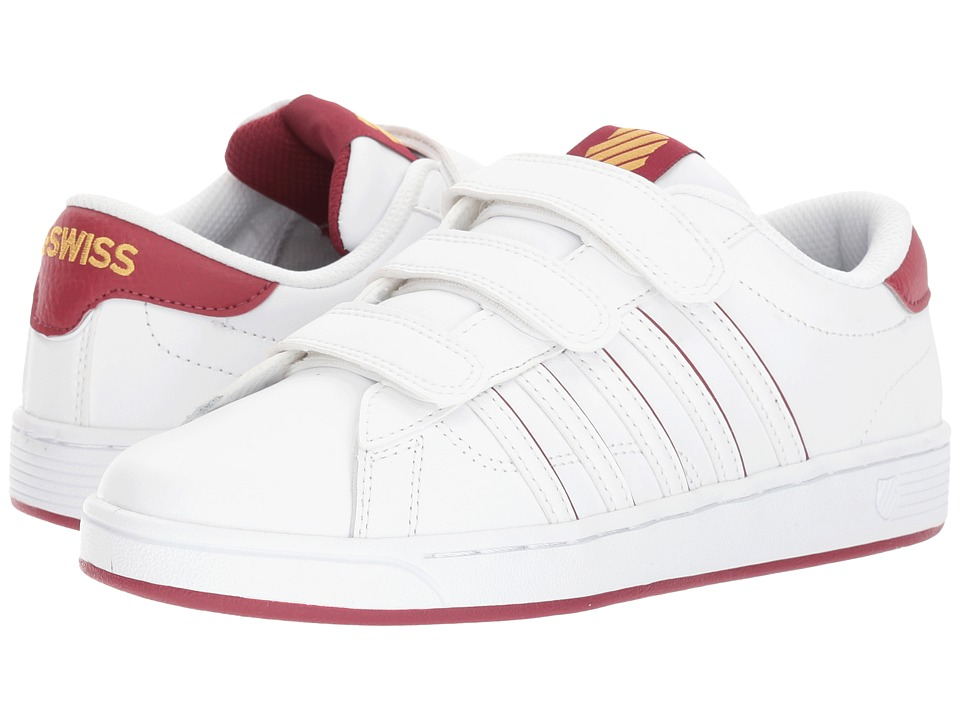 K-Swiss - Hoke 3-Strap SP CMF (White/Tibetan Red/Gold) Women's Tennis Shoes