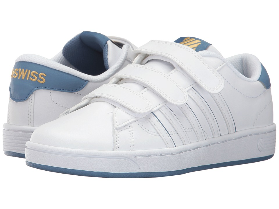 K-Swiss - Hoke 3-Strap SP CMF (White/Coronet Blue/Gold) Women's Tennis Shoes
