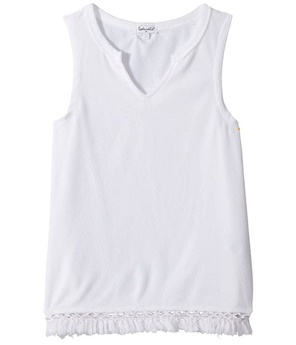 Splendid Littles - Terry Tank Top with Fringe (Big Kids) (White) Girl's Sleeveless