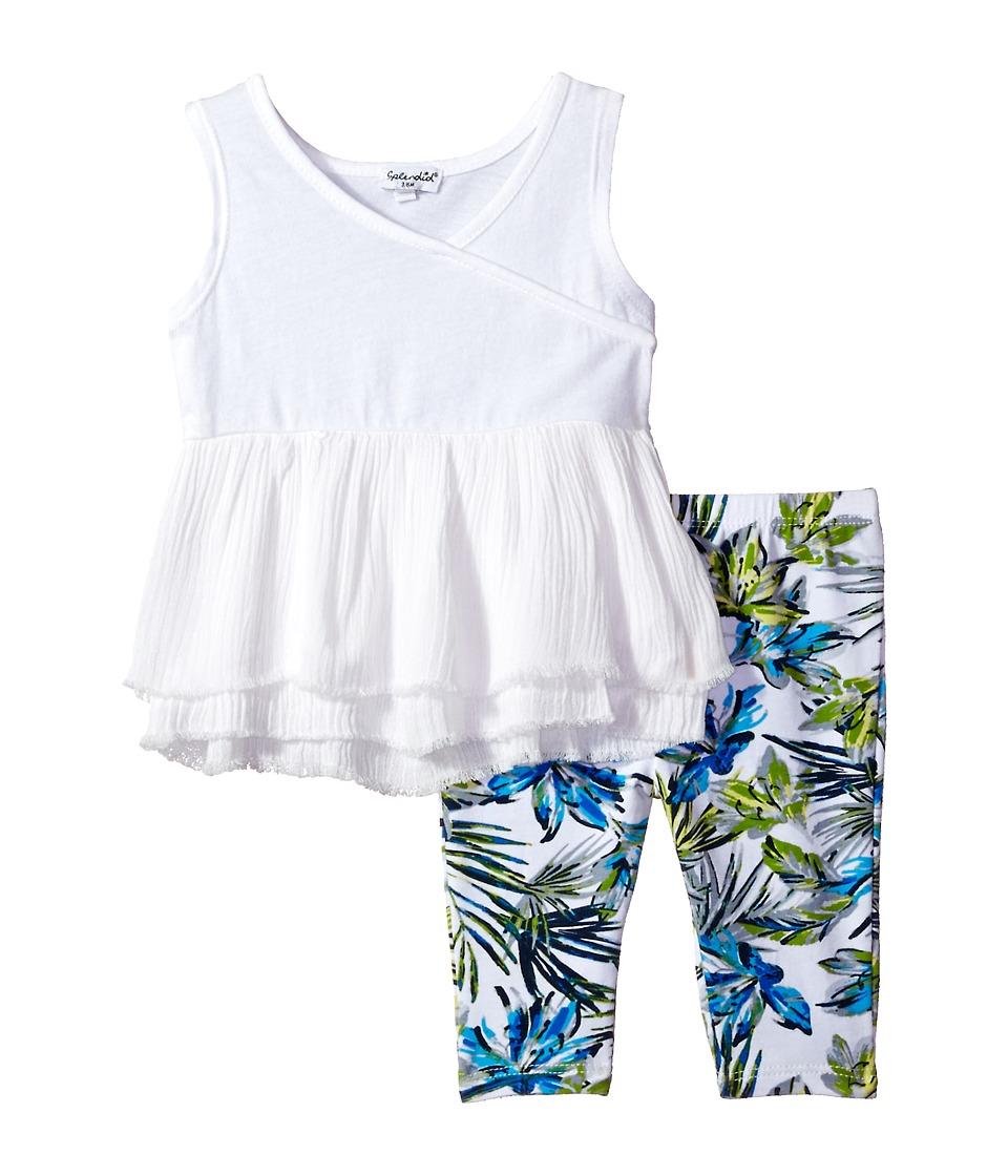 Splendid Littles - All Over Print Leggings Set (Infant) (White) Girl's Active Sets