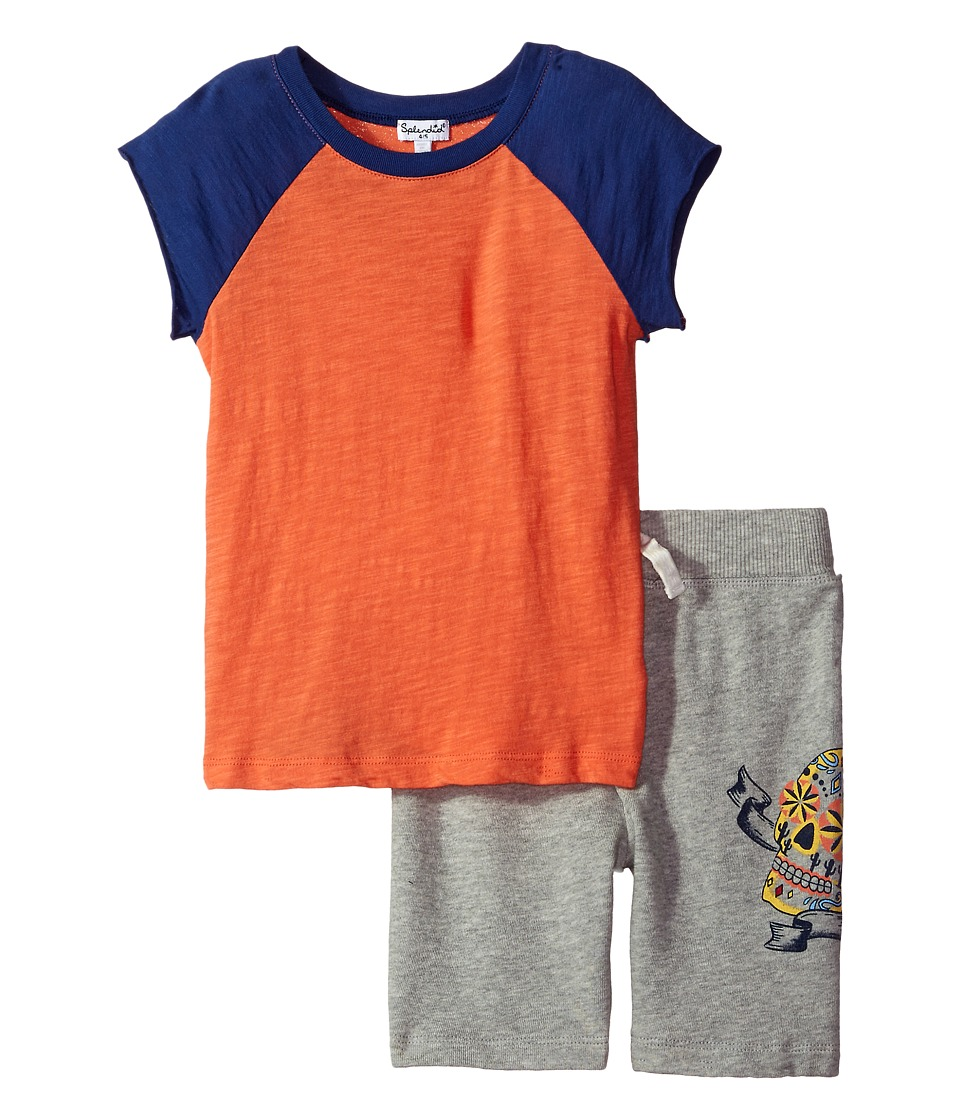 Splendid Littles - Screened Short Set (Little Kids/Big Kids) (Orange) Boy's Active Sets