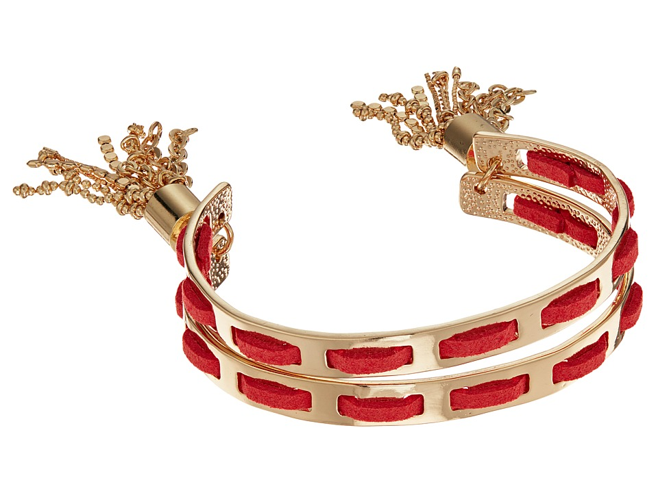 GUESS - Double Bangle C Cuff with Tassel Ends (Gold/Coral) Bracelet