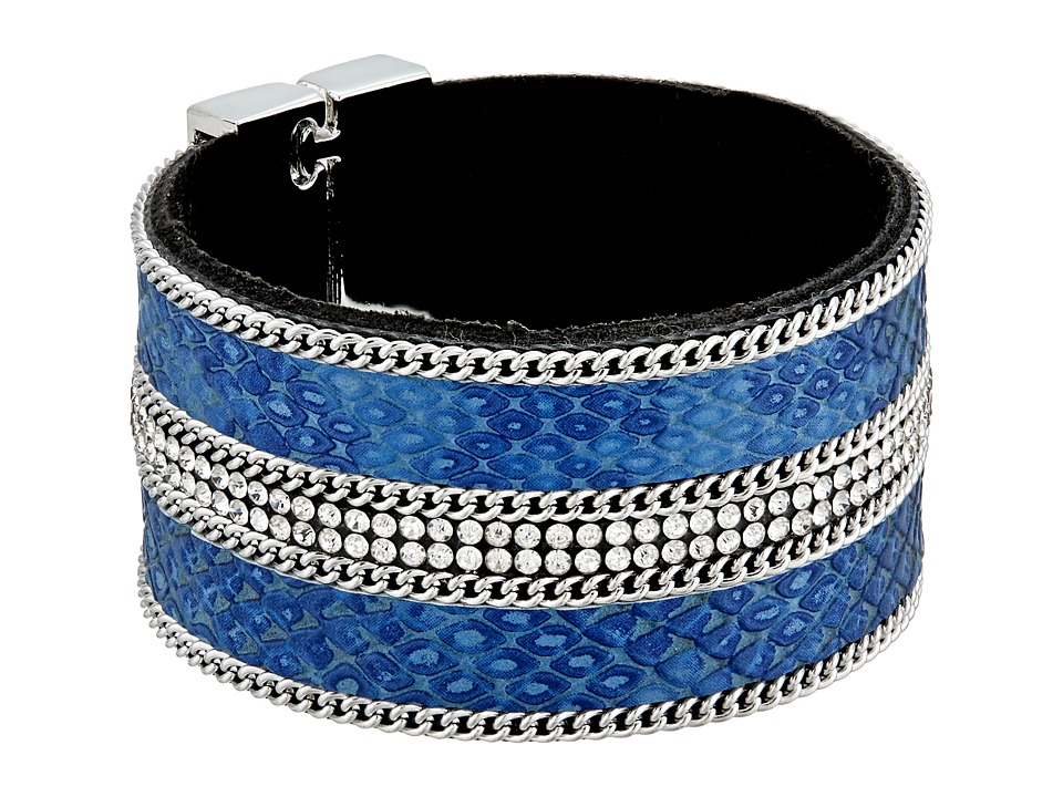 GUESS - Wide Faux Python Magnet Close Cuff Bracelet (Silver/Crystal/Blue) Bracelet