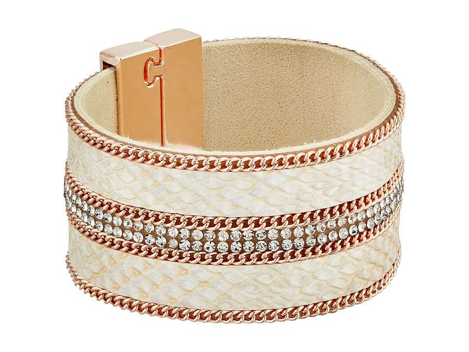 GUESS - Wide Faux Python Magnet Close Cuff Bracelet (Rose Gold/Crystal/Greige) Bracelet