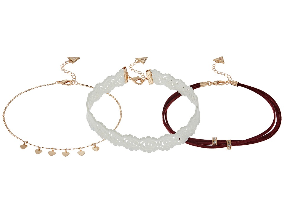 GUESS - Lace, Multi Cord and Dainty Chain Choker Necklace Set (Gold/White/Wine) Necklace
