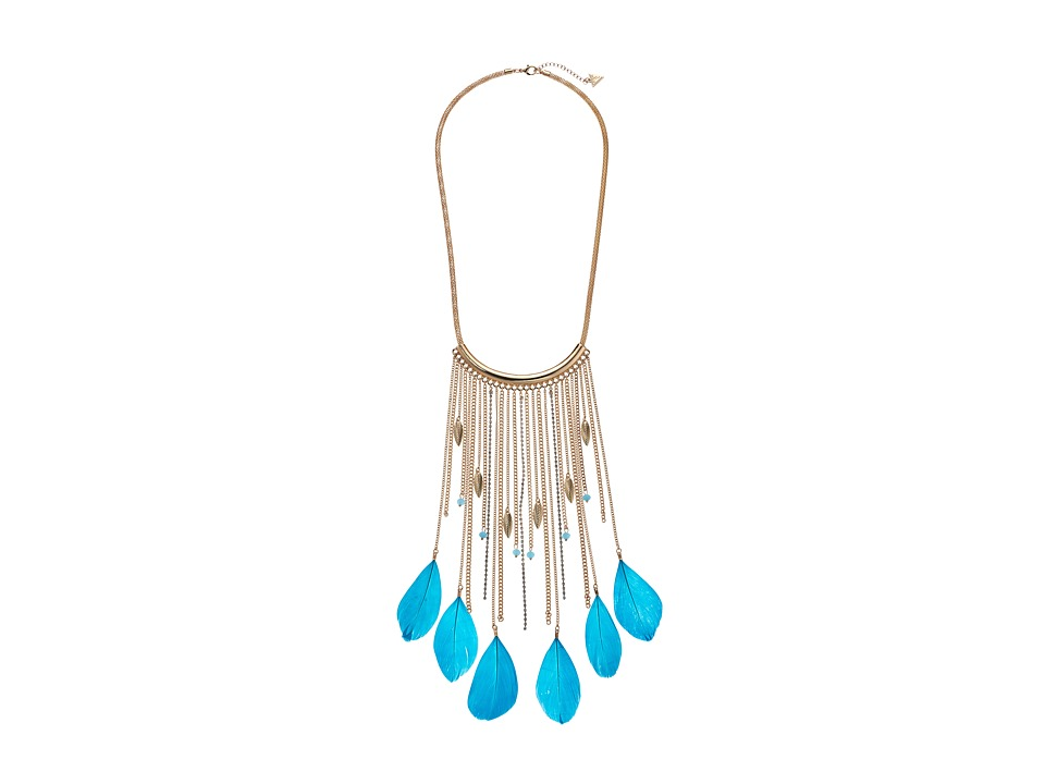 GUESS - Statement Necklace with Feathers (Gold/Crystal/Turquoise) Necklace