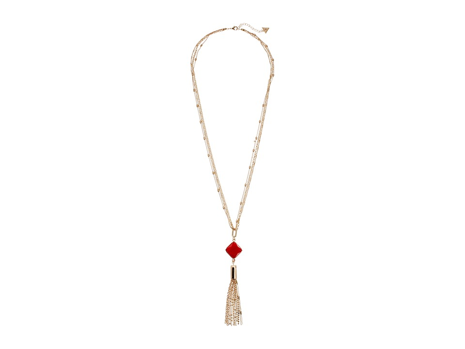 GUESS - Stationed Chain with Pendant Y Necklace (Gold/Coral) Necklace