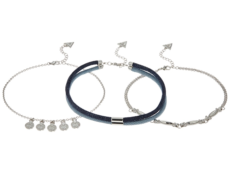 GUESS - Denim Choker, Metal Cahin with Drops Choker Necklace Set (Silver/Light/Dark Denim Blue) Necklace
