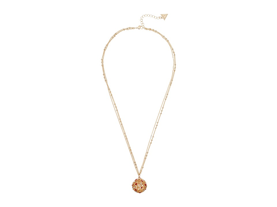 GUESS - Ball Pendant Necklace on Dainty Double Station Chain (Gold/Crystal/Coral) Necklace