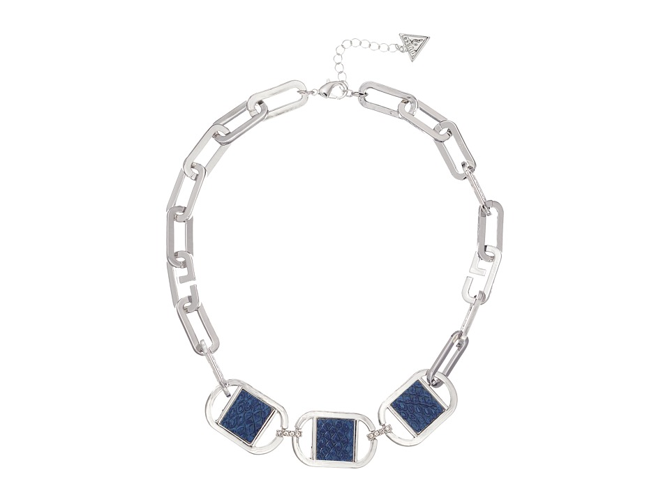 GUESS - Link Necklace with Faux Python Accents (Silver/Crystal/Blue) Necklace