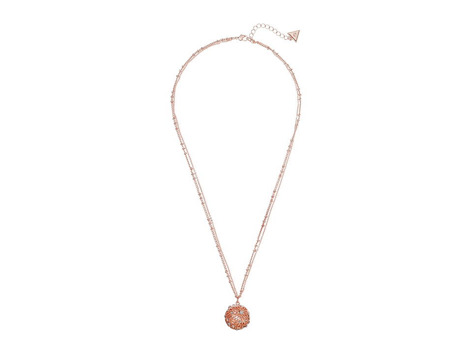 GUESS - Ball Pendant Necklace on Dainty Double Station Chain (Rose Gold/Crystal/White) Necklace