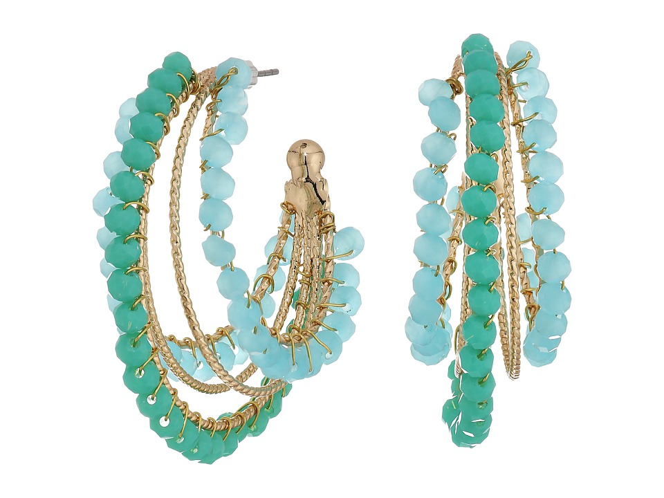 GUESS - Multi Bead Hoop Earrings (Gold/Multi Turquoise) Earring