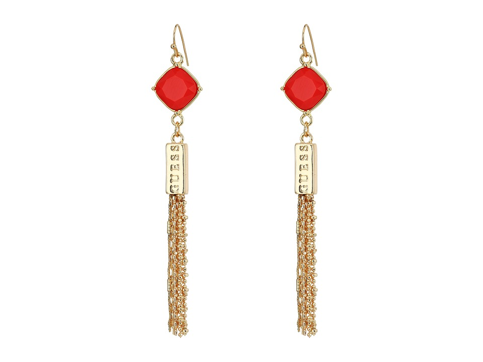 GUESS - Stone Drop with Fringe Linear Earrings (Gold/Coral) Earring
