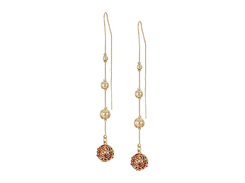GUESS - Ball Drop Threader Earrings (Gold/Crystal/Coral) Earring