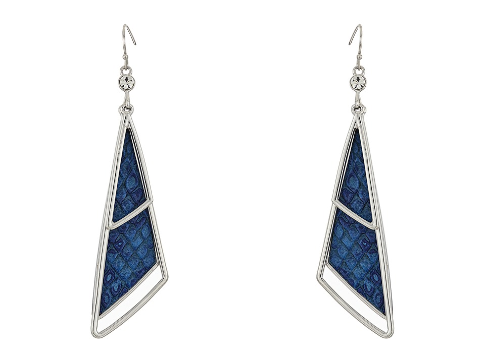 GUESS - Triangular Drop Earrings with Faux Python (Silver/Crystal/Blue) Earring