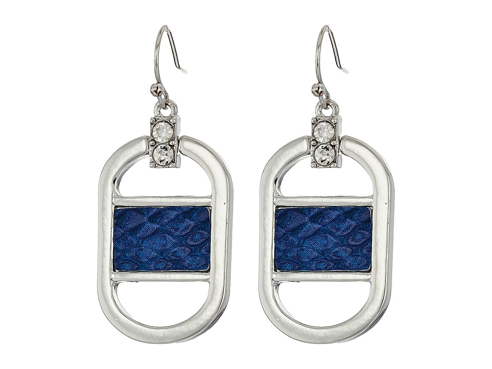 GUESS - Drop Earrings with Faux Python (Silver/Crystal/Blue) Earring