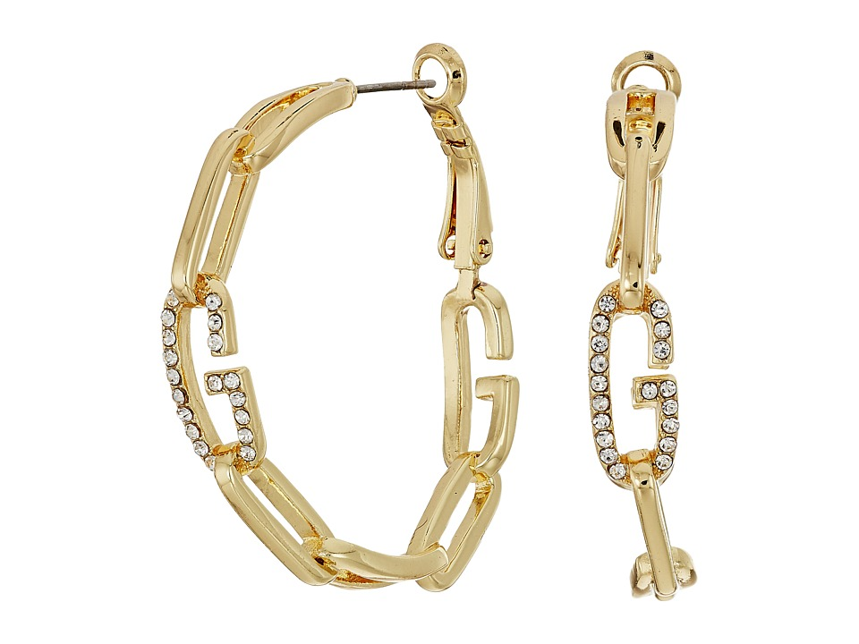 GUESS - Frozen Chain Link Hoop Earrings with Crystal (Gold/Crystal) Earring
