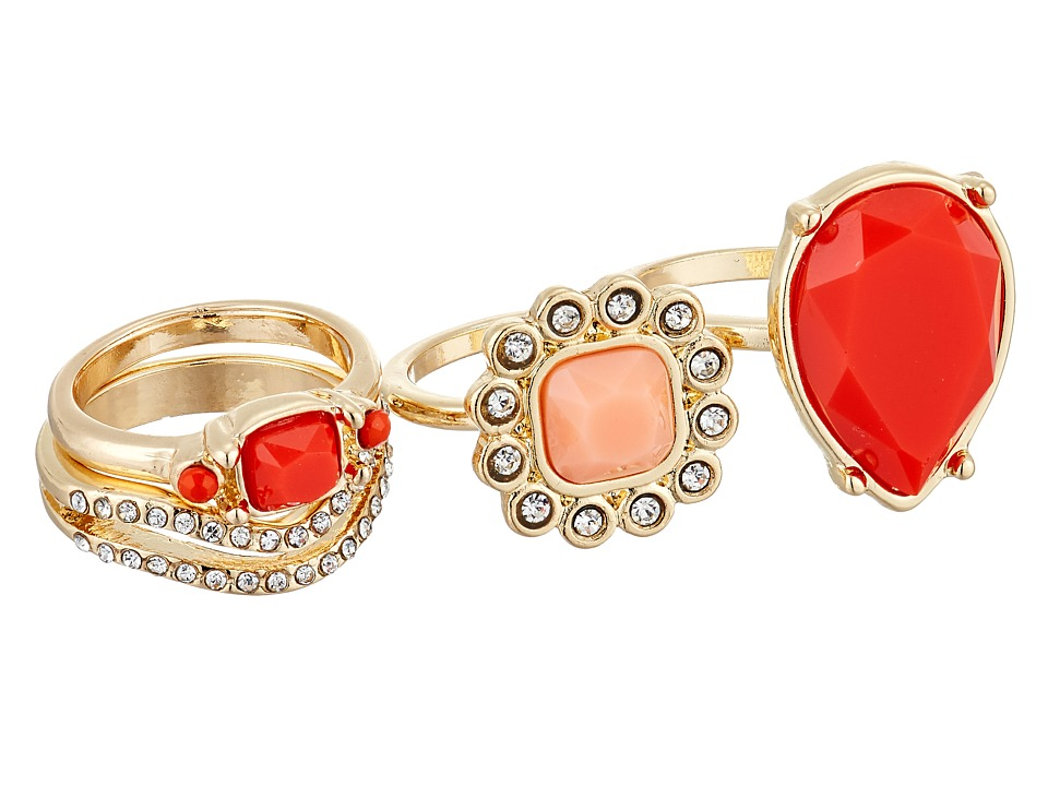 GUESS - 4 Piece Faux Coral Stack Ring Set (Gold/Crystal/Coral) Ring